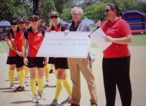 Mr Tim Crommelin accepts $1000 from us on behalf of ACRF